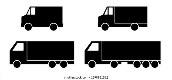Vector set of trucks icons. Cargo vans. Logo of transport. Vector illustration.