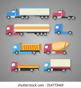 Vector set of trucks with a shadow. Color flat icons. Dump truck, tank, gasoline, truck, container. Vector illustration