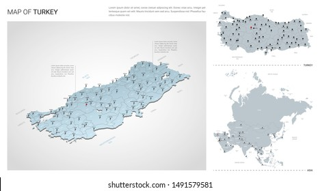 Vector set of Turkey country.  Isometric 3d map, Turkey map, Asia map - with region, state names and city names.