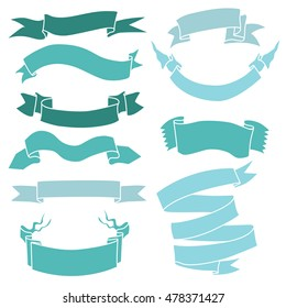Vector Set of Turquoise Ribbons for Your Text