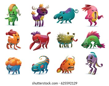 Vector set of twelve cartoon images of cute different colorful monsters in various poses on a white background. Positive character, creature, funny. Halloween.