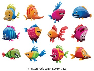 Vector set of twelve cartoon images of cute fishes of different bright colors and sizes smiling on a white background. Underwater life, ocean, aquarium. Positive character. Vector illustration.