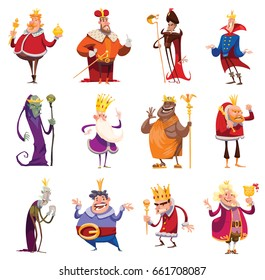 Vector set of twelve cartoon images of funny various kings in different clothes with different attributes of power in hands standing on a white background. Monarchy, kingdom. Vector illustration.