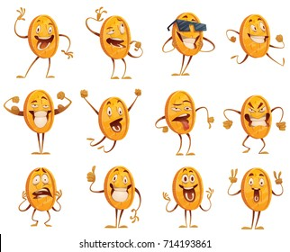 Vector set of twelve cartoon images of funny golden coins with arms and legs, with different actions and emotions on a white background. Money, finance, business, currency, dollar. Vector illustration