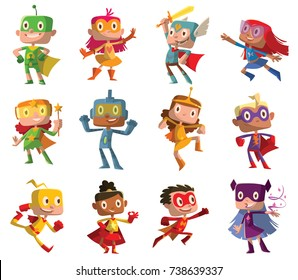 Vector set of twelve cartoon images of funny little boys and girls in various colors superhero costumes with different actions and emotions on a white background. Children, halloween, holiday.