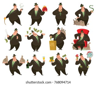 Vector set of twelve cartoon images of funny fat men capitalists in black suits and hats with different actions and emotions on a white background. Business, finance, monopoly, money.