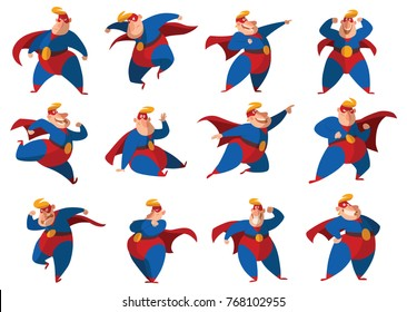 Vector set of twelve cartoon images of funny fat superheroes in red-blue suits, cloaks and red masks, with different actions and emotions on a white background. Superhero, savior, comic, hero.