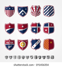 Vector set of twelve colored emblems