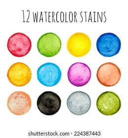 Vector set of twelve colorful hand drawn and painted isolated watercolor circle stains