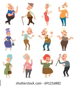 Vector set of twelve different funny old men and old women in various clothes with different actions and emotions on a white background. Retired, elderly. Vector illustration.