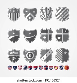 Vector set of twelve emblems