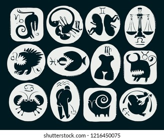 Vector set of twelve funny and scary signs of the zodiac with symbols. Black and white decorative icons for astrology horoscopes isolated on black background