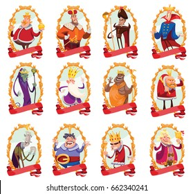 Vector set of twelve gold emblems with red banners and with cartoon images of funny various kings in different clothes with different attributes of power in hands standing on a white background.