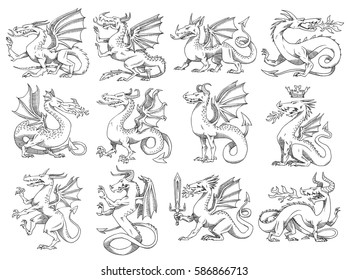 Vector set of twelve images of heraldic dragons in different poses on a white background. Coat of arms, heraldry, emblem, symbol. Made in monochrome style. Vector illustration.