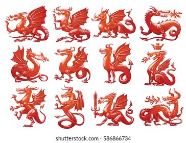 Vector set of twelve images of heraldic red dragons in different poses on a white background. Coat of arms, heraldry, emblem, symbol. Color image. Vector illustration.
