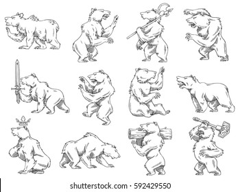 Vector set of twelve images of heraldic bears in different poses with different weapons on a white background. Coat of arms, heraldry, emblem, symbol. Made in monochrome style. Vector illustration.