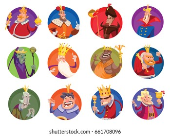 Vector set of twelve round frames with cartoon images of funny various kings in different clothes with different attributes of power in hands standing on a white background. Monarchy, kingdom.