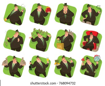 Vector set of twelve square green frames with cartoon images of funny fat men capitalists in black suits and hats with different actions and emotions on a white background. Business, finance, monopoly