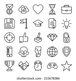 Vector set of twenty five black on white new trends in business icons   Gamification strategy in business icons set   Social media marketing and business innovation flat design line icons collection