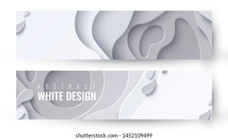 Vector set of two abstract white paper cut banners. Geometric layered background. Christmas waves holiday decorative papercut design