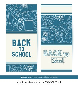 Vector set of two Back To School hand drawn banners