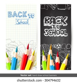 Vector set of two Back to School banners