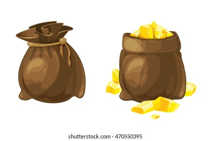 vector Set of two bags opened and closed with gold. Illustrations isolate on white background. Tamplate for 2D game UI.