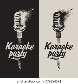 Vector set of two banners with microphone and inscription karaoke party on the abstract background with splashes and curls in grunge style