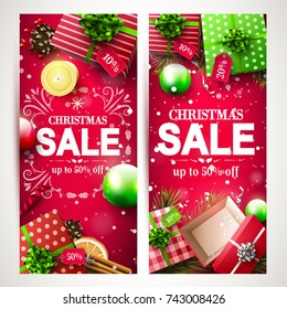 Vector set of two Christmas headers or banners with red and green gift boxes and Christmas decorations on red background
