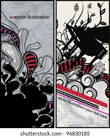 vector set of two hand drawn cards with a piano and abstract decorations