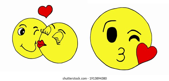 vector set of two kissing emoticons