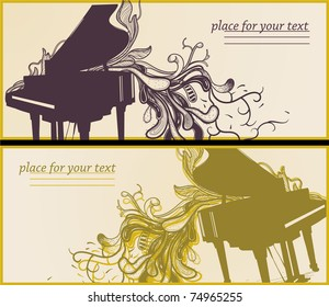 vector set of two music cards with a grand piano and fantasy hand drawn plants