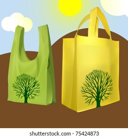 vector set of two reusable shopping bags