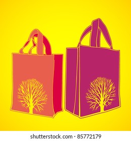 vector set of two shopping bags