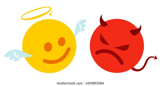 Vector set two smiles. Funny and angry emoji in kawaii style. Vector set of two angel and devil smiles.
