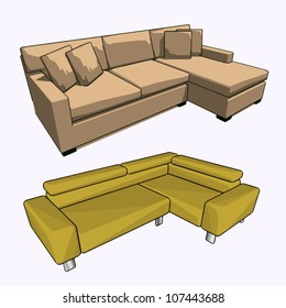 Vector set of two sofas