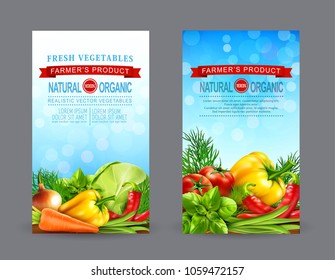 Vector set of two vertical banners with realistic vegetables for the farmers market (tomato, cabbage, carrots, dill, basil, eggplant, onion, pepper, green beans, chili). template for advertising card