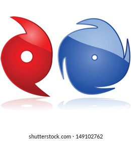 Vector set of two weather icons representing hurricanes or typhoons