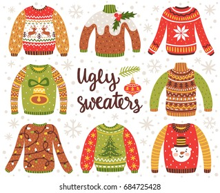 0807e37f7 Vector set of ugly Christmas sweaters with norwegian ornaments and holidays  decorations. Collection of knitted