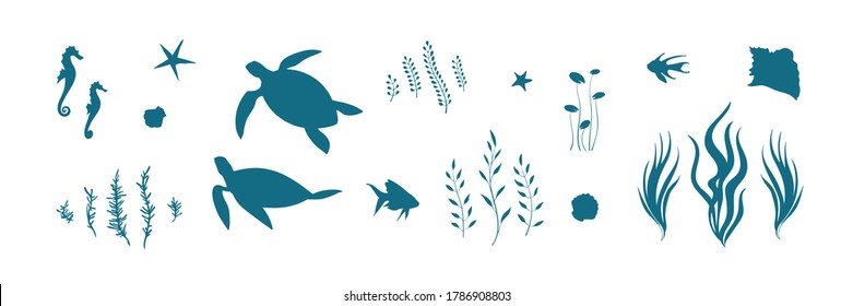 Vector set with underwater animal illustration with turtles, fish, seahorses and algae. Blue silhouette of undersea wildlife elements. Marine life cartoon collection.