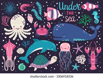 Vector set of underwater animals: octopus, whale, turtle, dolpin, jellyfish, crab, lobster, seahorse, squid, clownfish, butterflyfish, seaplants and corals. Childish background with cartoon characters