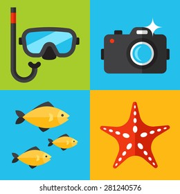 Vector set of underwater photography icons. Flat design style.