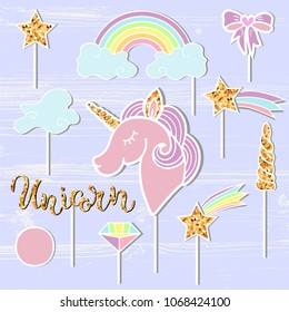 Vector set with Unicorn, Rainbow, Horn, star, diamond. Unicorn handwritten lettering as patch, stick cake toppers, laser cut plastic, wooden toppers. Props for baby birth, Unicorn, Birthday party.