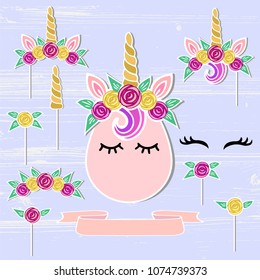 Vector set with Unicorn, Tiara, Horn, flower wreath. Unicorn symbols as patch, stick cake topper, sticker, drink topper. Props for baby birth, Unicorn, Birthday party, First Birthday anniversary