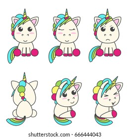 Vector set of unicorns with different emoticons. Flat design