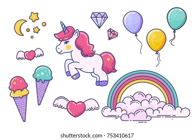Vector set with unicorns, rainbow, heart, baloons, moon and stars. Fairy elements isolated on white