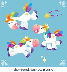 Vector set of unicorns with rainbow mane in different poses.