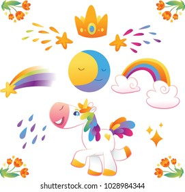 Vector set with unicorns, star, rainbow, moon, cloud und flowers.