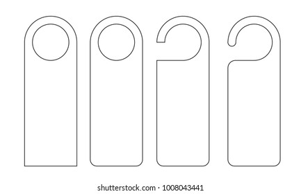 Vector Set of unique door hangers with trendy line style isolated on white background. Door hanger mockup.