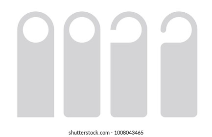 Vector Set of unique door hangers isolated on white background. Door hanger mockup.